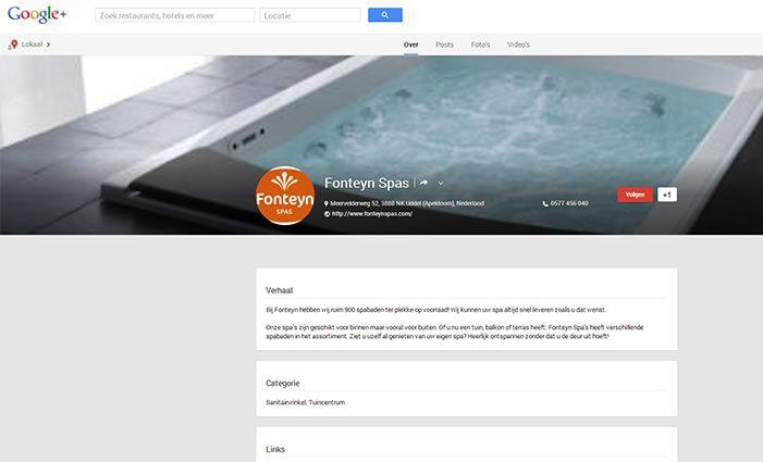 Volg de Fonteyn Spas op Google Plus!